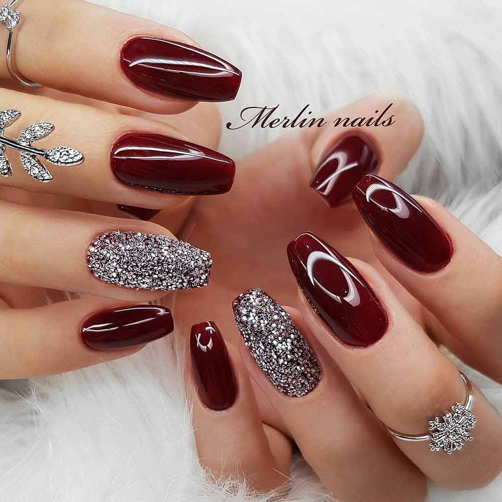 Burgundy And Silver Nails Design #silverglitter