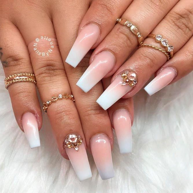 Pink And White Ombre Coffin Nails #frenchfade #longnails #ombrenails