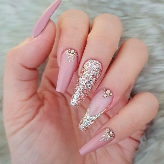 Nude Nails With Glitter Tips And Rhinestones Accents #glitternails #frenchnails #rhinestonesnails