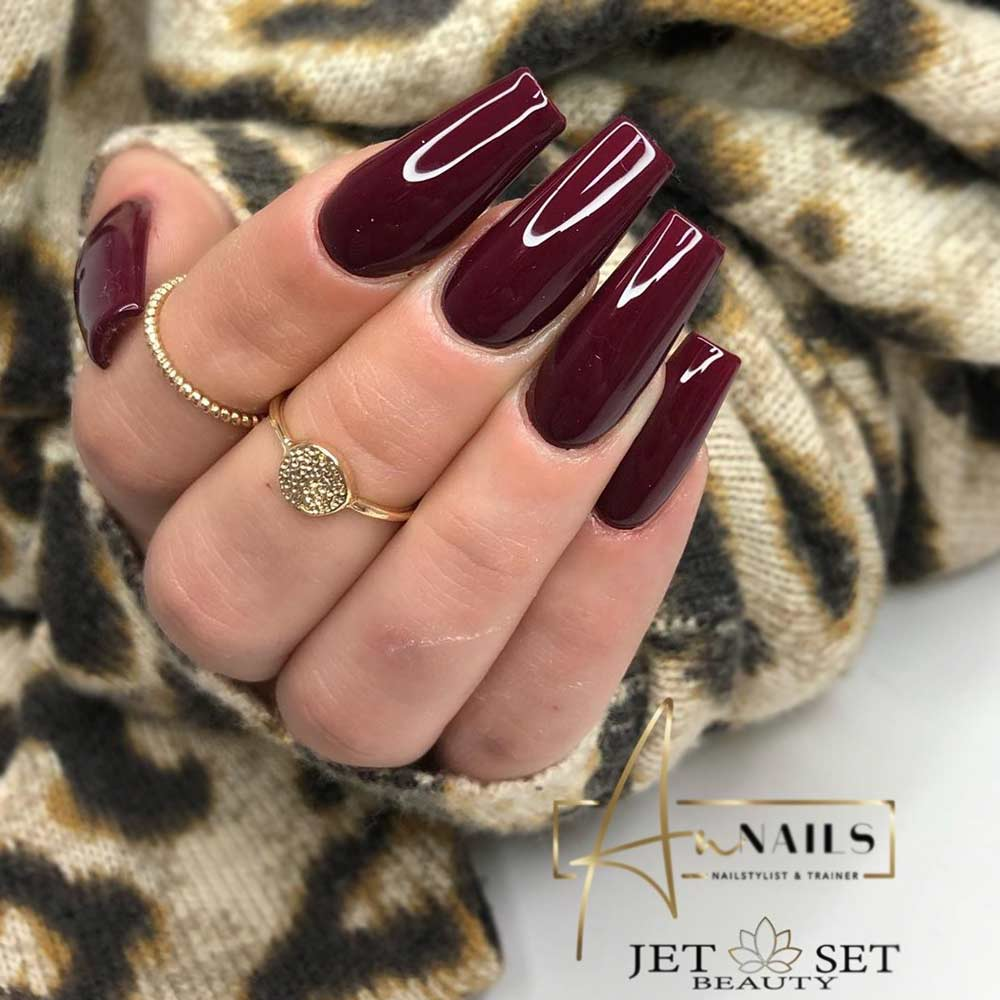 Amazing Burgundy Coffin Nails
