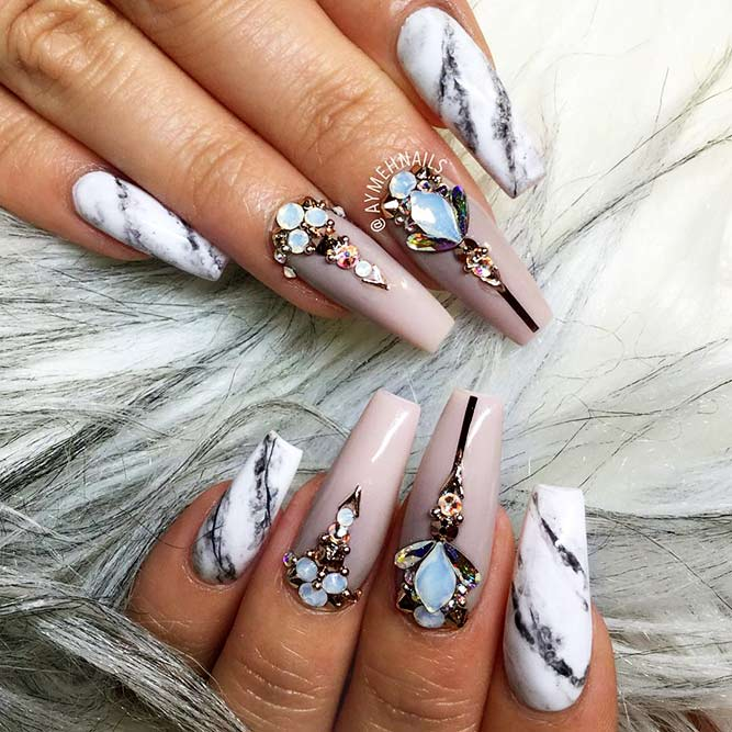 Coffin Nails Designs with Stones Picture 3