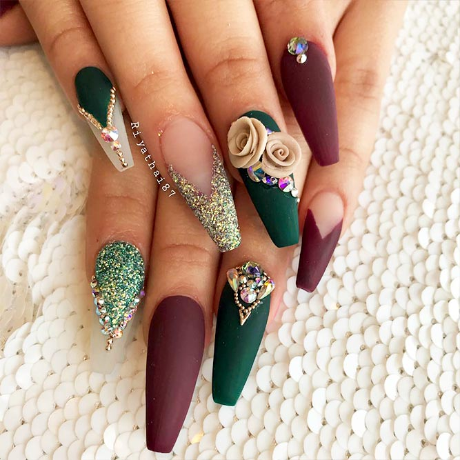 Coffin Nails Designs with Stones Picture 4
