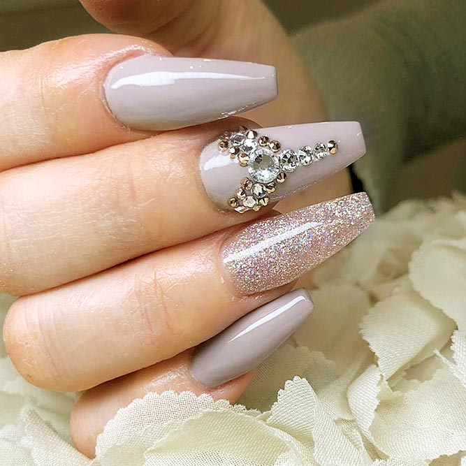 Coffin Nails Designs with Stones Picture 6
