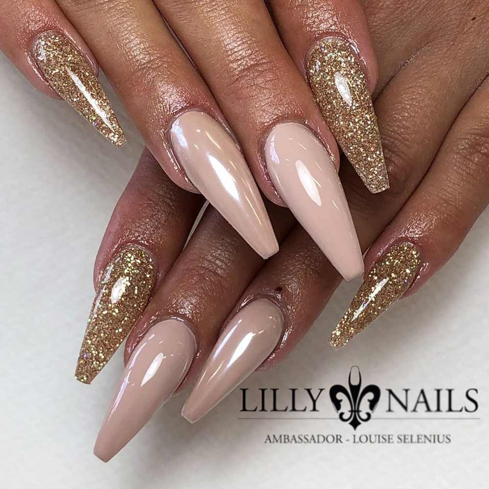 Soft Nude Coffin Nails Designs