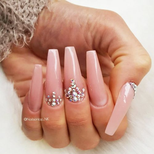 Coffin Nails Designs with Stones Picture 1