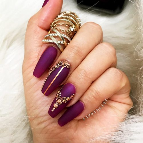 Coffin Nails Designs with Stones Picture 2