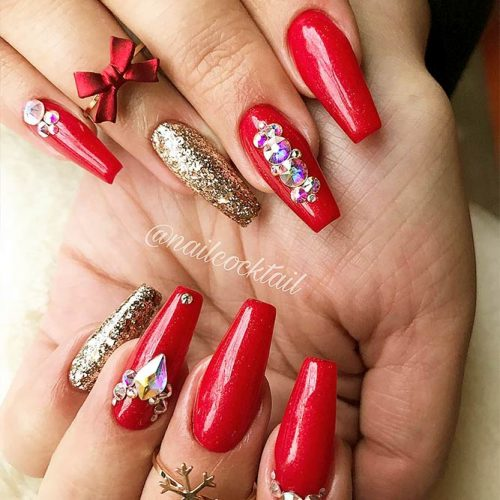 Coffin Nails Designs with Stones Picture 5