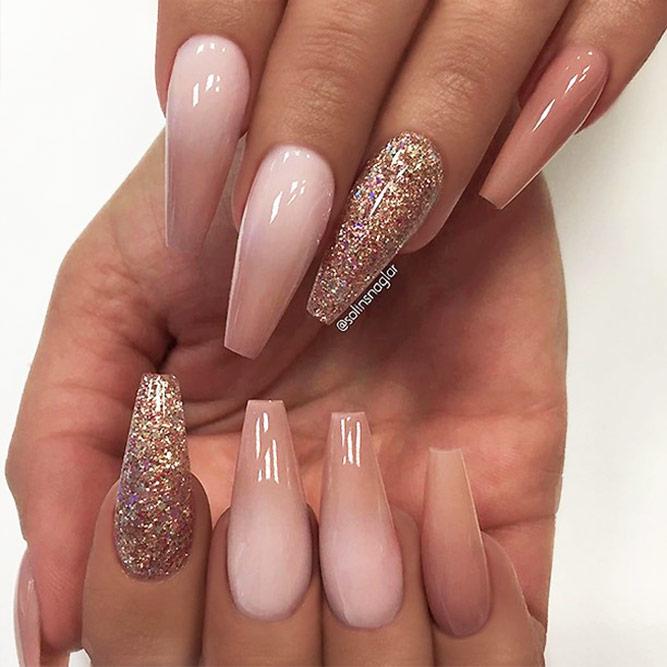 Glitter Coffin Nails Design Picture 2