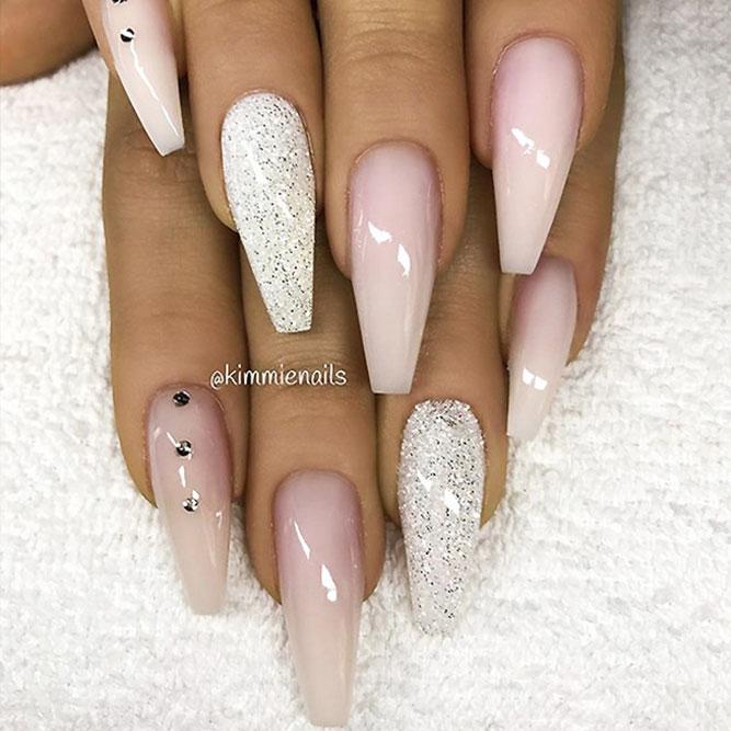 Glitter Coffin Nails Design Picture 1