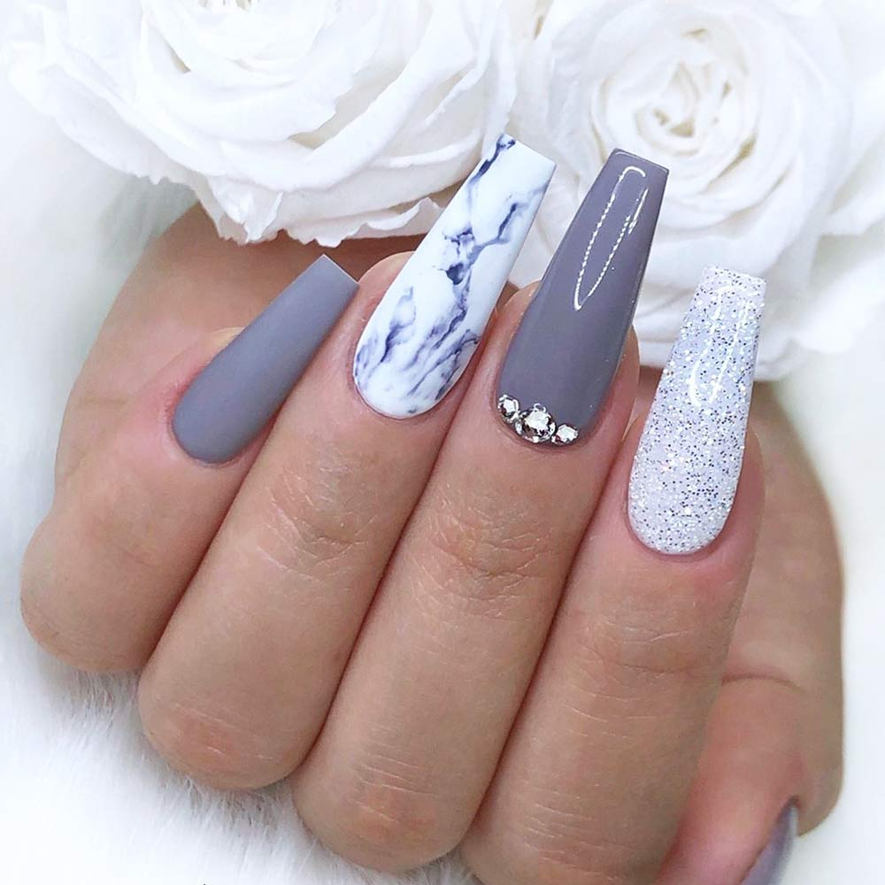 Gray Marble Nails Art #crystals #graymarblenails