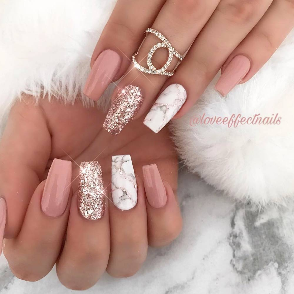 White Marble Nails Designs
