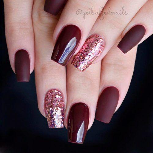 Burgundy Coffin Nails With A Glitter Accent #mattenails #glossynails #glitternails