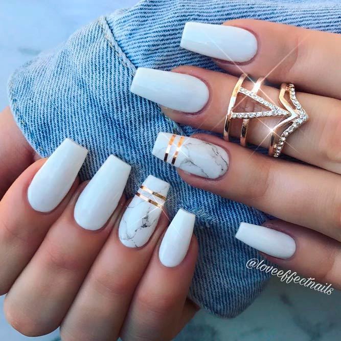 White Coffin Nails With An Accent #mattenails #marblenails