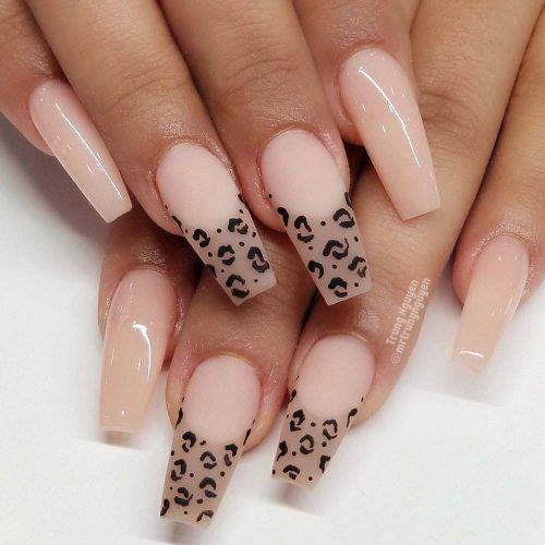 Nude Coffin Nails With Leopard Art #leopardart