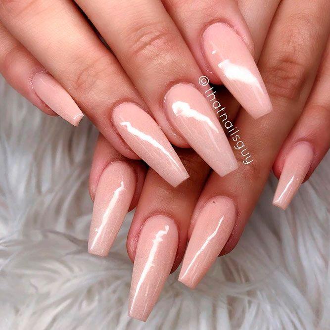Long Pastel Pink Coffin Nails #longnails #simplenails #purenails
