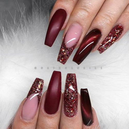 Burgundy Nails Coffin Picture 1