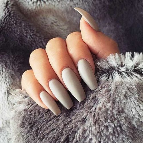 Grey Coffin Nails Picture 3
