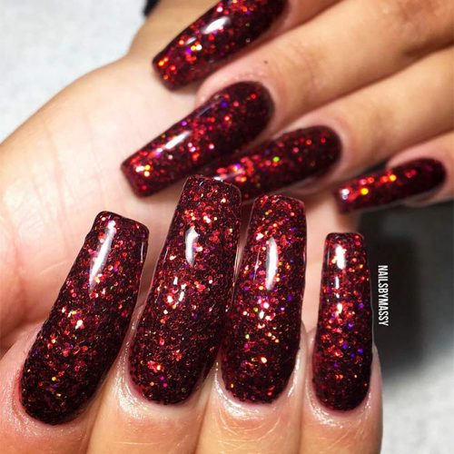 Burgundy Nails Coffin Picture 2