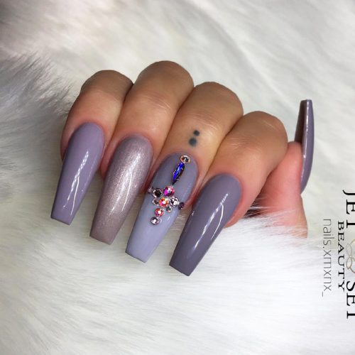 Grey Coffin Nails Picture 1