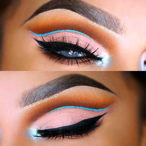 Cut Crease With Blue Eyeliner #blueeyeliner