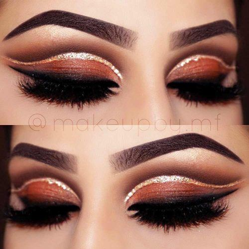 Cut Crease Makeup With Gold Glitter Eyeliner #glittereyeliner