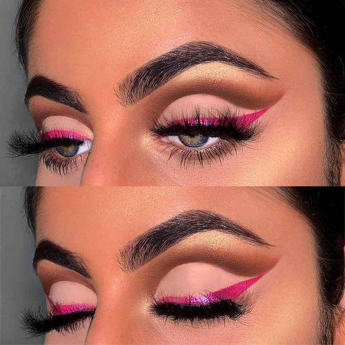 Cut Crease With Pink Eyeliner #pinkeyeliner