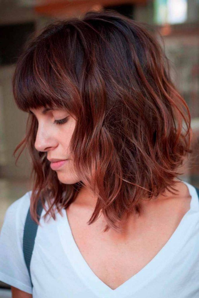 Wavy Lob With Chestnut Highlights #chestnuthair #wavyhair