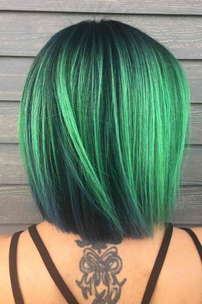 Green Ombre Long Bob #greenhair #lob
