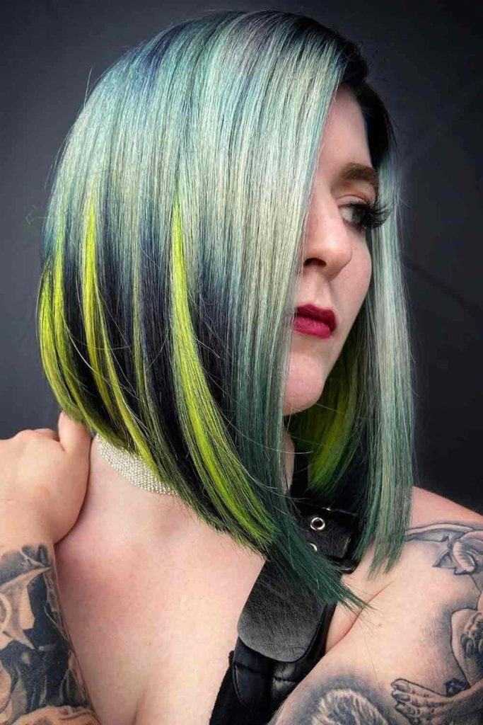 Inverted Bob With Colorful Highlights #coloredhair #invertedbob