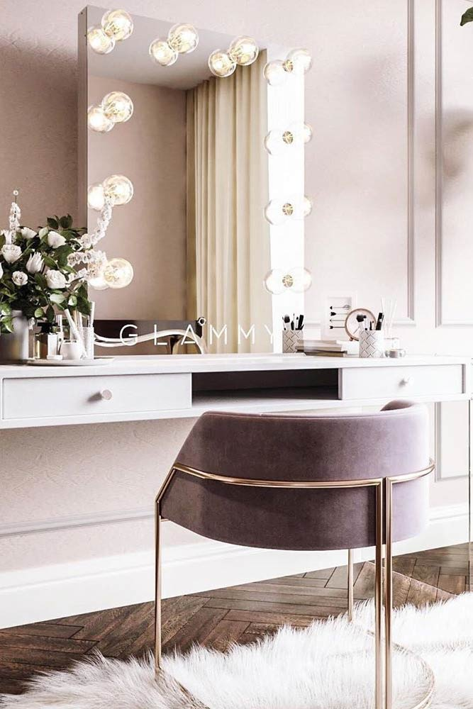 Modern Makeup Vanity Table With Gray Chair #graychair #mirrorwithlights