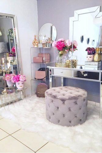 Modern Makeup Vanity Table Organization #shelves #mirrortable