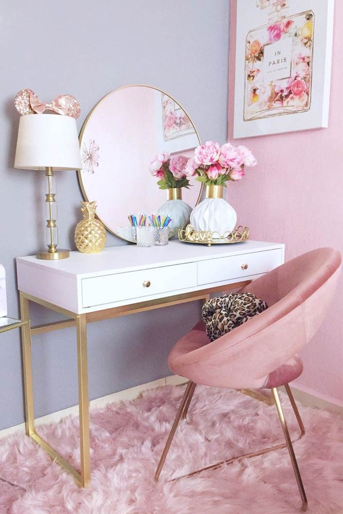 White Makeup Table With Pink Chair #roundmirror #pinkchair