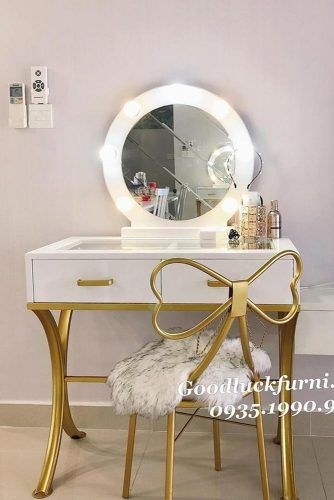 Modern Vanity Table With Bow Chair #roundmirror #bubblesmirror