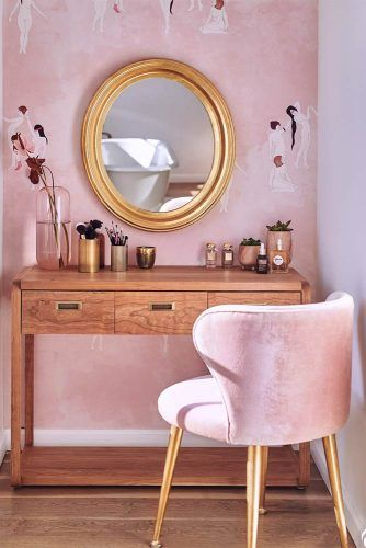 Wooden Makeup Vanity Table With Pink Chair #pinkwall #pinkchair