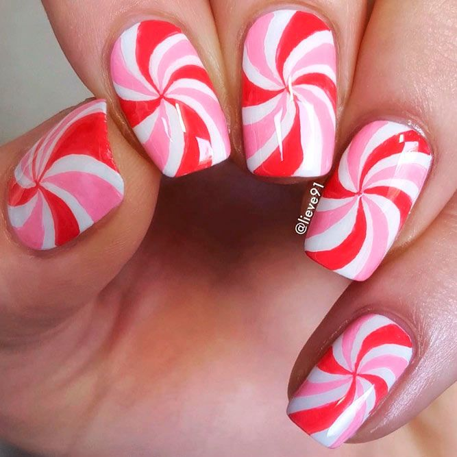 Candy Colored Pink And White Nails #candynailart #swirlnails