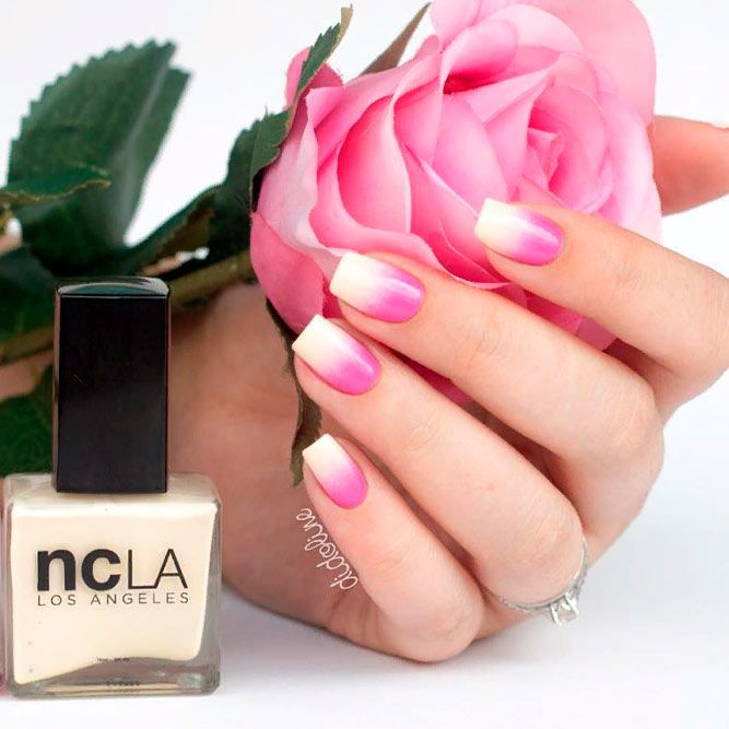 Classic Pink And White Ombre Nails #ombrenails #simplenailsdesign