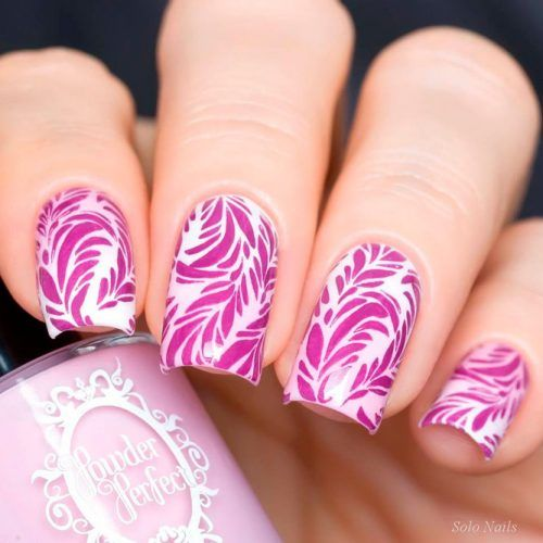 Floral Pink Stamping Nail Art #stampingnails #floralnails