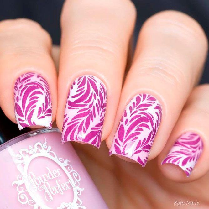 Floral Pink Stamping Nail Art #stampingnails #floralnails