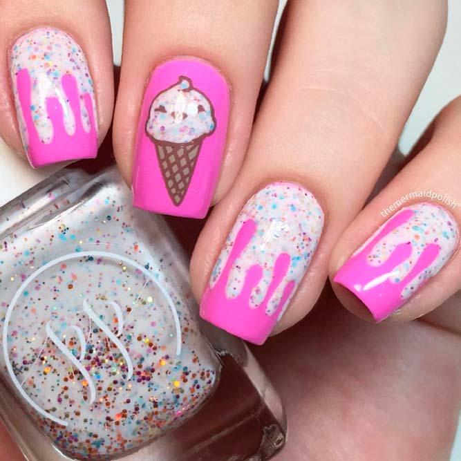 Ice Cream Nail Designs #summernails #glitternails