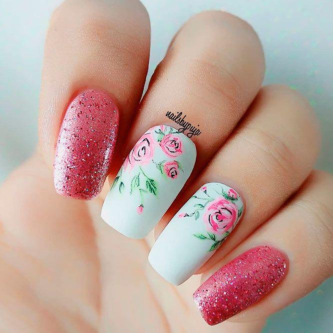 Glitter Roses Nail Art #glitternails #flowersnails