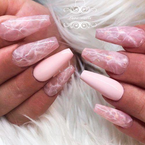 Rose Quartz Nail Art #longnails #marblenails