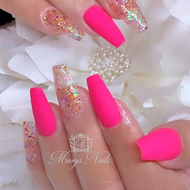 Matte Pink And Glitter Nails #mattenails #glitternails