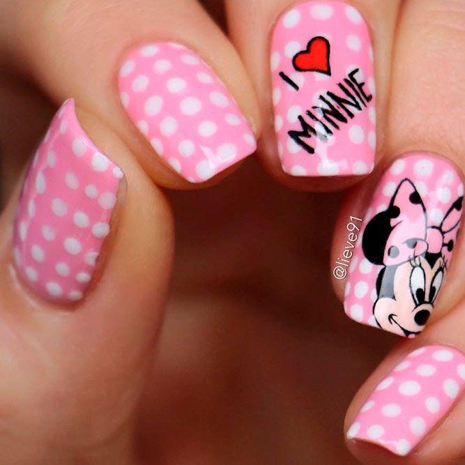 Cute Minnie Mouse Nail Art #girlynails #minnienails