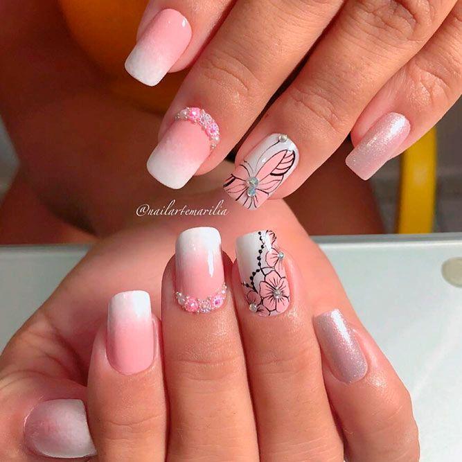 Pink Butterfly Nail Art #ombrenails #rhinestonesnails #flowersnails