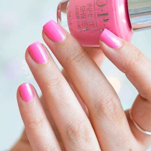 Elegant Pure Pink Nails #simplenaildesign #shorrtnails