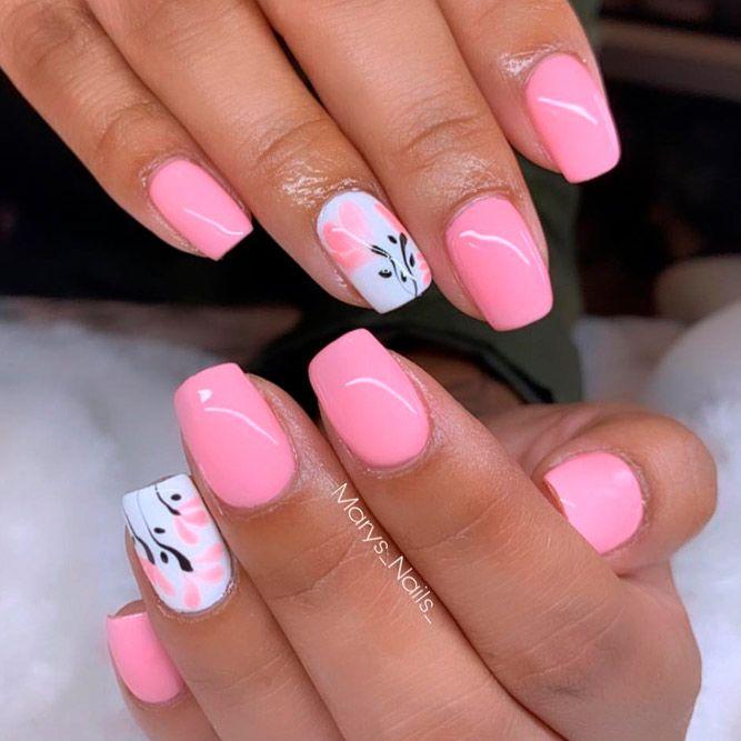 Short Light Pink Nails #shortnails #flowersnails