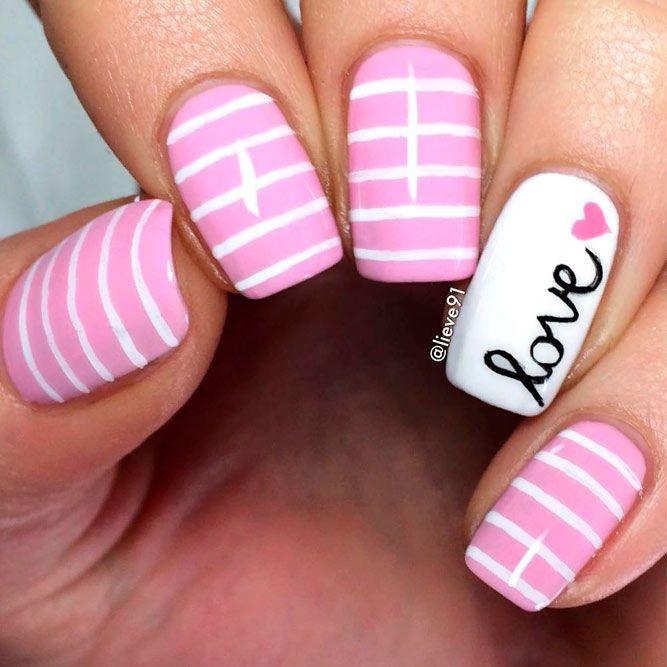 Stylish Striped Pink Nails #sptripednails #girlynaildesign