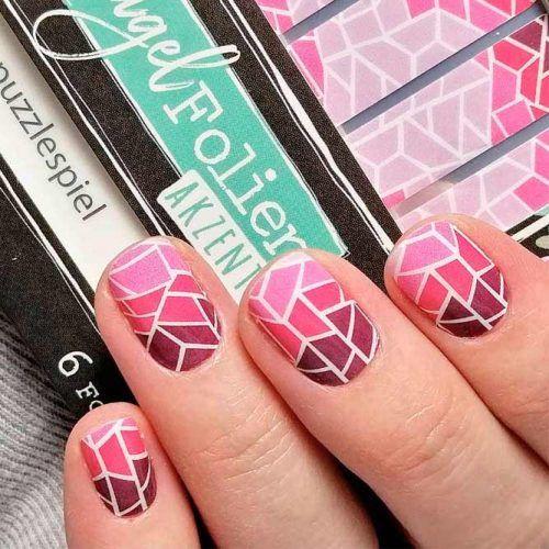 Pink Ombre Tile Nail Design #geometricnails #shortnails