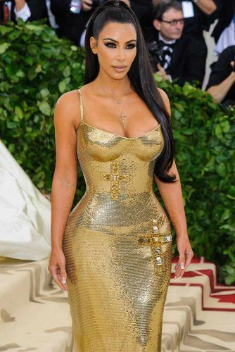 Gold Bodycon Dress With Crystal Accents #kimkardashian