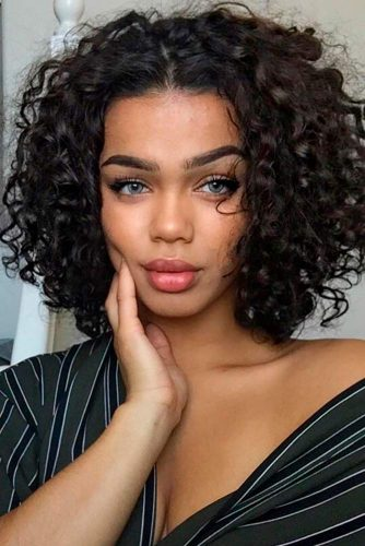 Cute Short Curly Hairstyles For Natural Hair #curly #curlybob #bobcut #blackhair